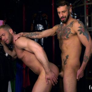 muscle stud gets fucked in a store by hairy guy with beard