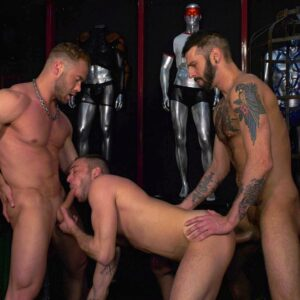 naked stud in a store suck cock and gets fucked in the ass